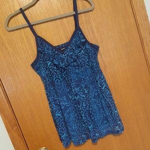 Torrid navy turquoise patterned mesh babydoll